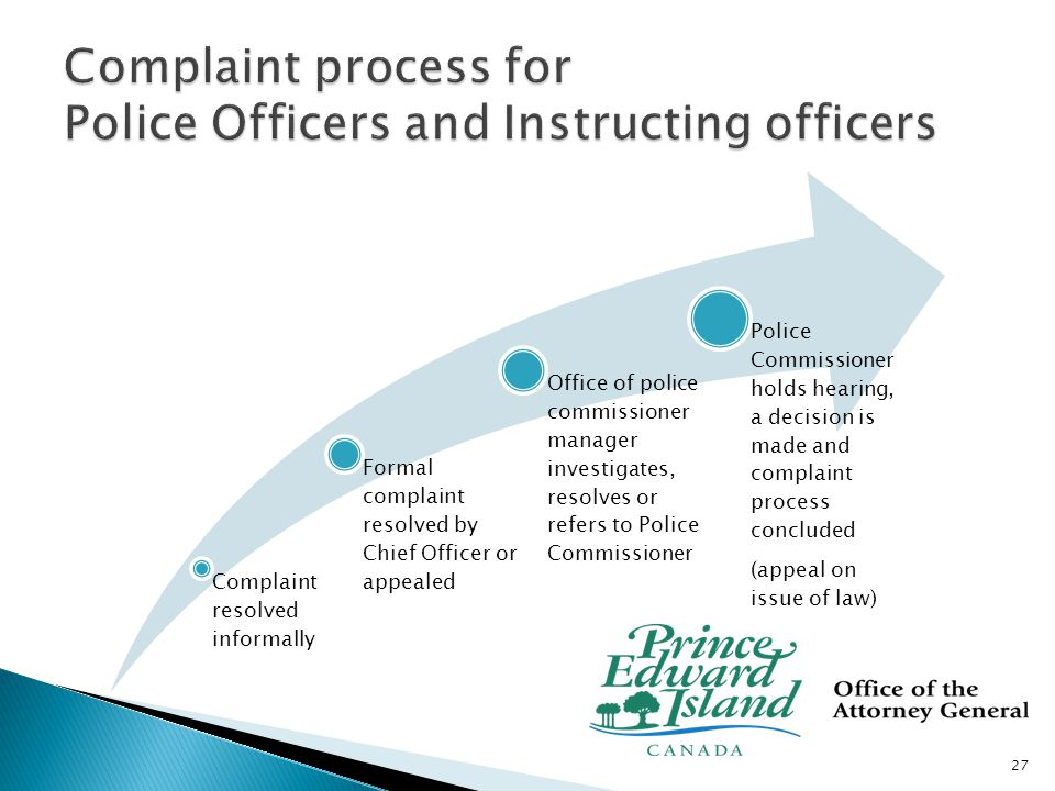 Complaint resolved informally Formal Complaint filed with Manager, Office of Police Commissioner, is investigated, resolved or referred to Commissioner for hearing Police Commissioner holds hearing, a decision is made and complaint process concluded (appeal on issue of law) 28