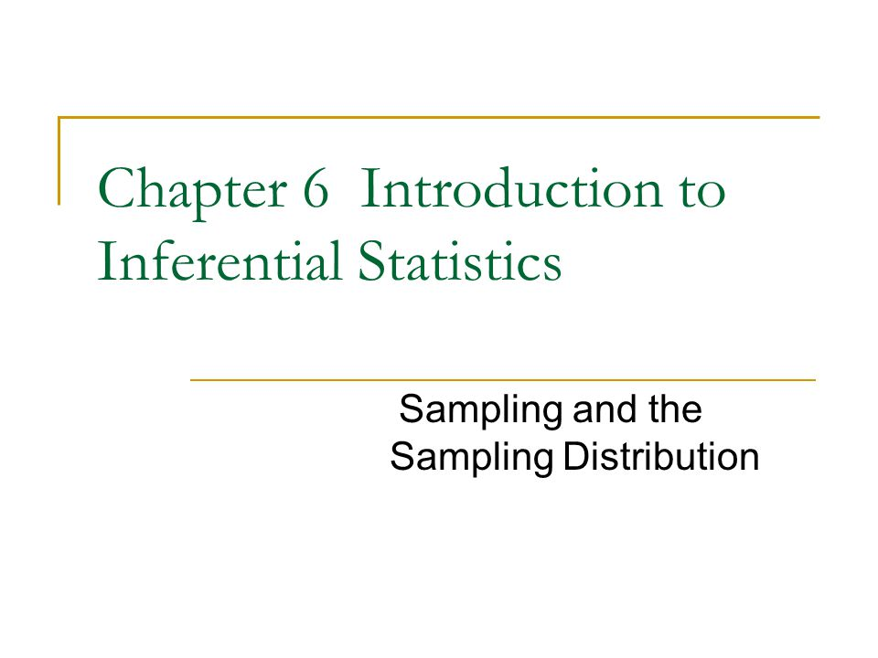 Outline The logic and terminology of inferential statistics Random sampling The sampling distribution