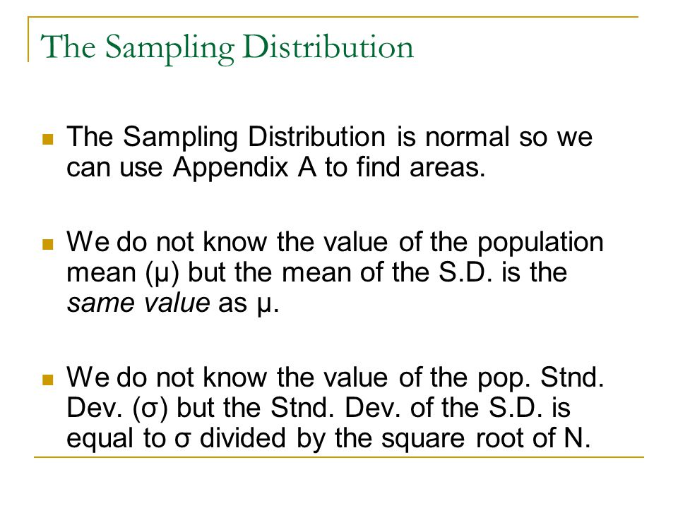 Three Distributions Shape Central Tendency Dispersion SampleVaries _X_Xs Sampling Distribution Normalμx=μμx=μσ x = σ/√N PopulationVaries μ σ