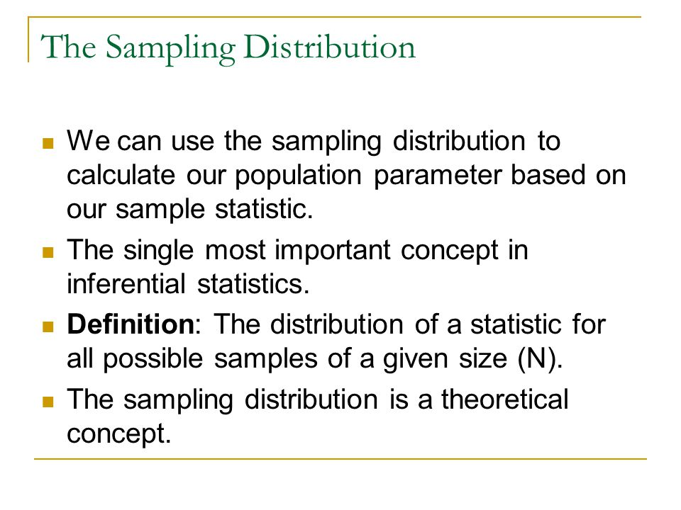The Sampling Distribution Every application of inferential statistics involves 3 different distributions.