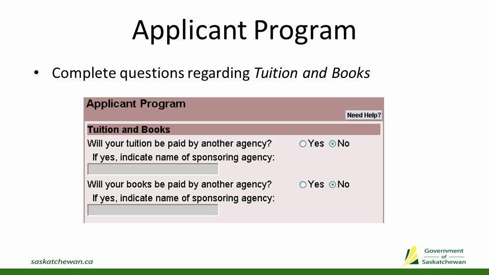Applicant Program If you are not attending the U of R, U of S, or a SIAST campus, select Other School and submit a Program Information Form