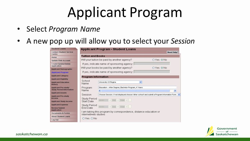 Applicant Program Select Session Provide additional program information and Submit