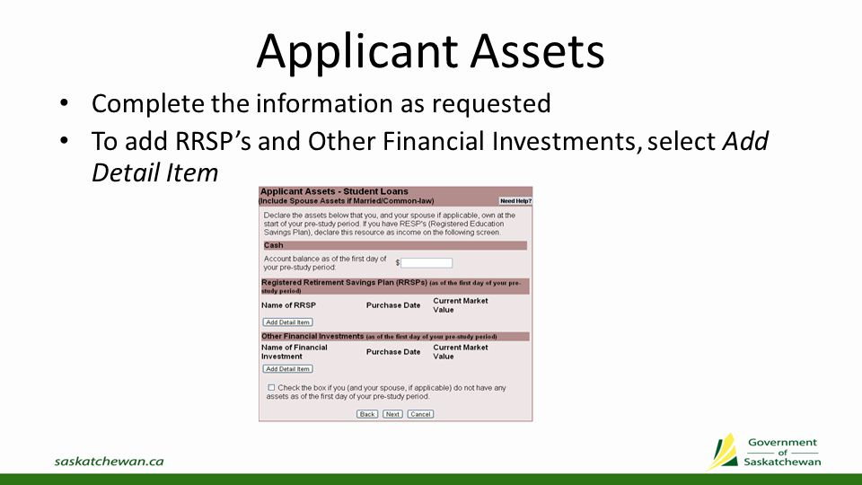 Applicant Assets Add Applicant Asset: RRSP Add Applicant Asset: Other Investment
