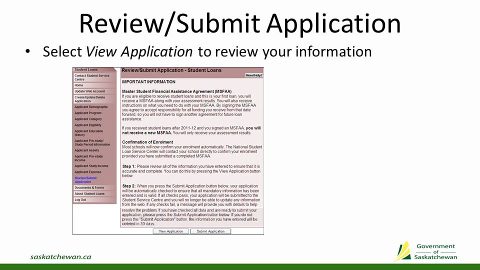 View Application Review information to ensure you have entered all information correctly