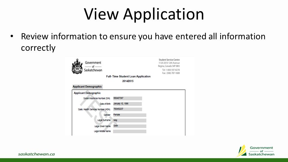 Review/Submit Application If you need to update information, use the left menu to select the screen that requires updating Once you are sure your information is complete, select Submit Application