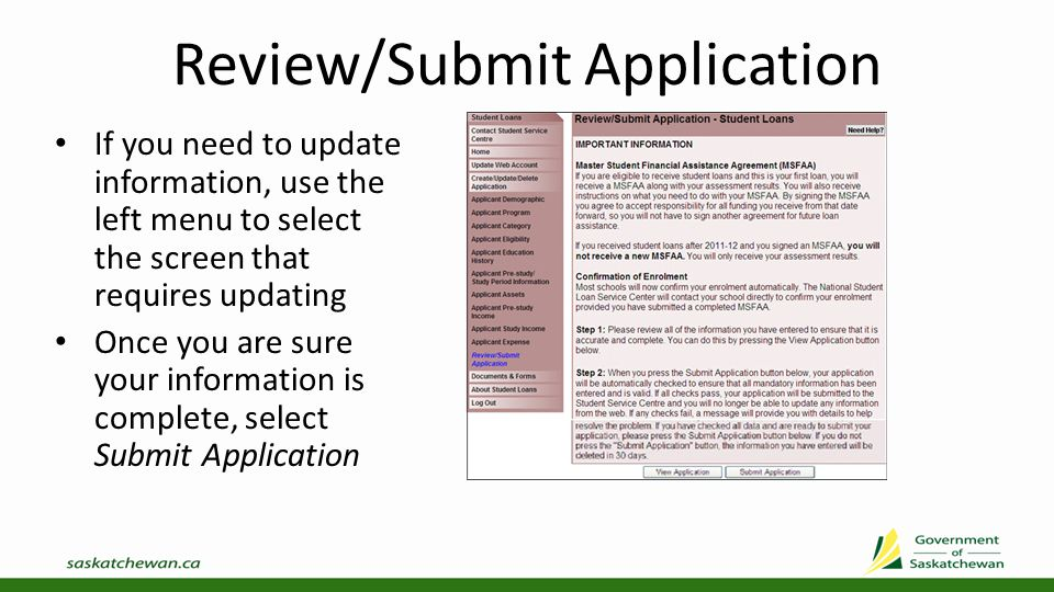 Submission Result If you have not provided all required information, you will receive an error message To update the information, select the highlighted area on the message or select the appropriate screen from the left menu