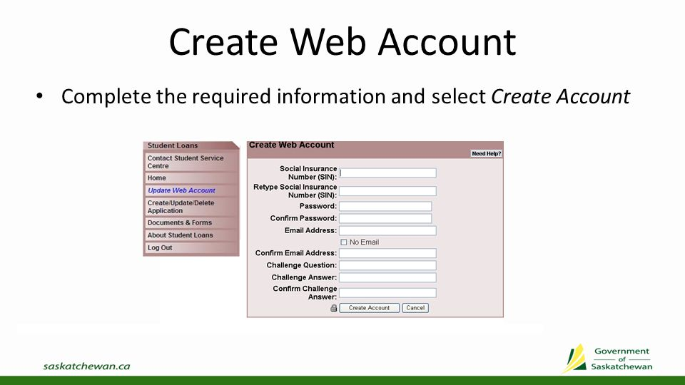 Update Web Account To Update Web Account select from left menu