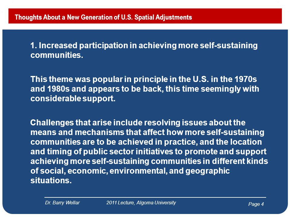 Page 5 Thoughts About a New Generation of U.S.Spatial Adjustments Dr.