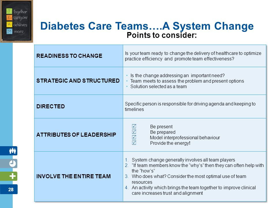 29 Diabetes Care Teams….A System Change Working together as a team includes…