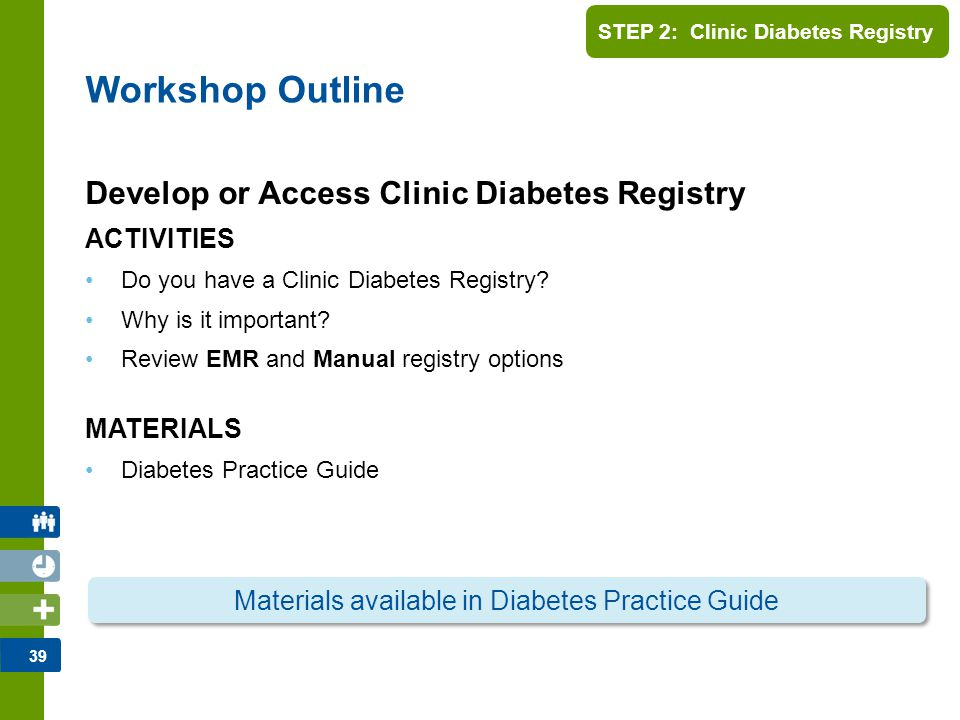 40 STEP 2: Clinic Diabetes Registry As indicated by the CDA's Organization of Care Guidelines, a Diabetes Patient Registry is a very important step in patient management.
