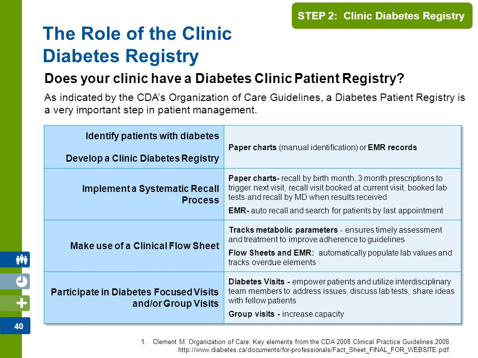 41 STEP 2: Clinic Diabetes Registry Track patients using appropriate data searches 1.Identify and categorize specific patients by category or billing information 2.Identify patients who require intervention by conducting a data search based on disease- specific clinical outcomes or problems list Examples: A1C > 7%; BP >130/80 mm Hg; Elevated cholesterol levels 3.Facilitate outcomes measurement ** Is your EMR an effective/optimal Registry tool.