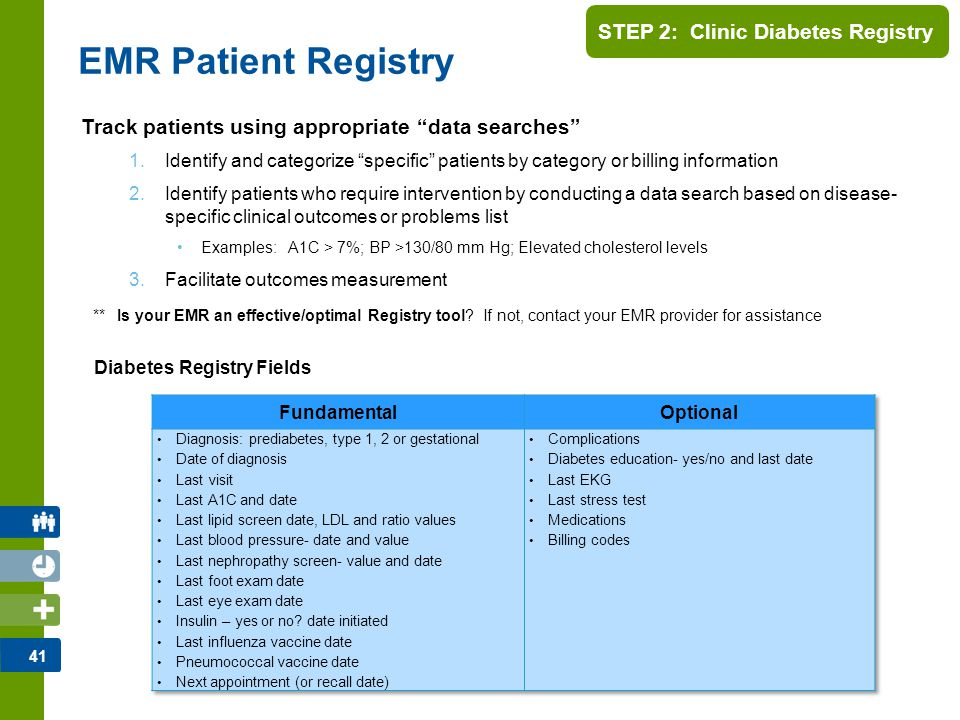 42 STEP 2: Clinic Diabetes Registry Manual Patient Registry Track patients via commercially available spreadsheets Registry could be populated… –at diagnosis –when reviewing charts or at patient's next appointment –when lab results or consultation reports are received EXCEL Diabetes Patient Registry Ortiz D.