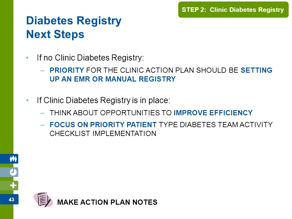 44 Clinic Team Regroup Share key learnings –Clinic diabetes registry development or assessment –Overall input/collaboration with other Clinic Teams MAKE ACTION PLAN NOTES