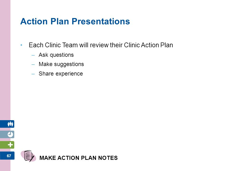 68 STEP 5: IMPLEMENTATION ACTIVITIES Plan-Do-Study-Act Cycle Clinic Action Plan Implementation and Measuring Effectiveness Reflect upon the solutions generated today and how the team can be successful MATERIALS 1.Clinic Action Plan 2.Clinic Diabetes Management Dashboard 3.Participant Workbook Workshop Outline Implement, track progress and evaluate All materials can be found in the Participant Workbook