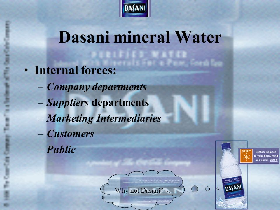 Dasani mineral Water External forces –Demographic –Economic –Natural –Technology –Cultural –Political Why not Dasani?