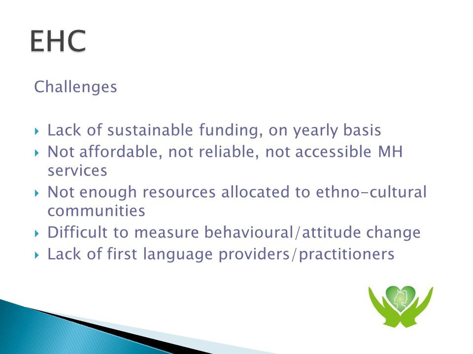  Equitable MH services  Cultural competent service providers  First language service providers  First language liaisons link ethno-cultural communities to main stream service providers  Liaisons housed in accessible and familiar locations  First language materials and education
