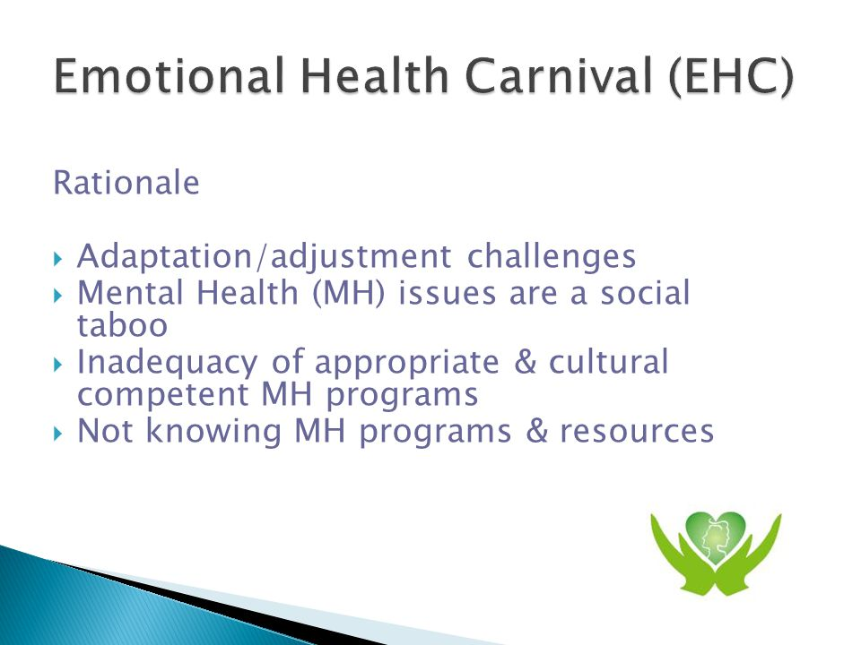 Goal  to raise emotional/mental health awareness  to encourage self care & help seeking  to connect MH services to Chinese community  to promote inclusiveness & access to MH services  Create a reference model for future initiatives for other ethnic communities