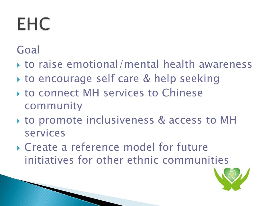 Means  How: Carnival & community education  When: annually  Who:10-14 Emotional Health Carnival partners including Chinese agencies, immigrant serving agencies & main stream service providers