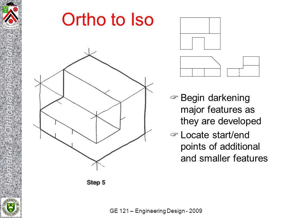 GE 121 – Engineering Design - 2009 Ortho to Iso  Locate and sketch start/end points for non- isometric lines such as the angled surface  Sketch and darken the non-isometric features