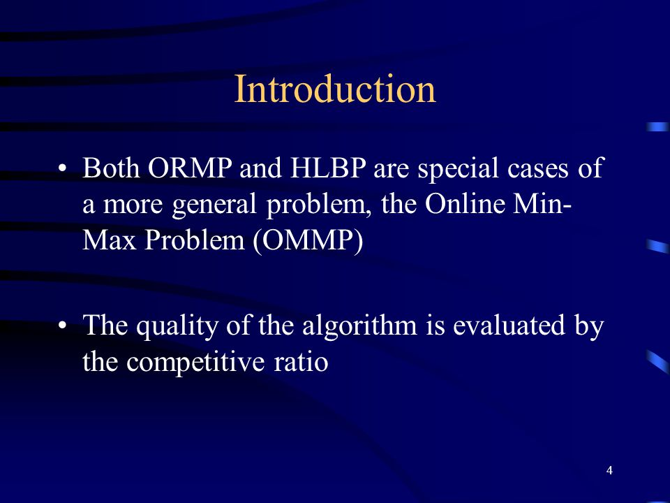 5 Objectives A simple parameterized deterministic algorithm, called the  -policy, with parameter  and competitive ratio , provided it produces a feasible solution The  -policy is also optimal among all randomized algorithms