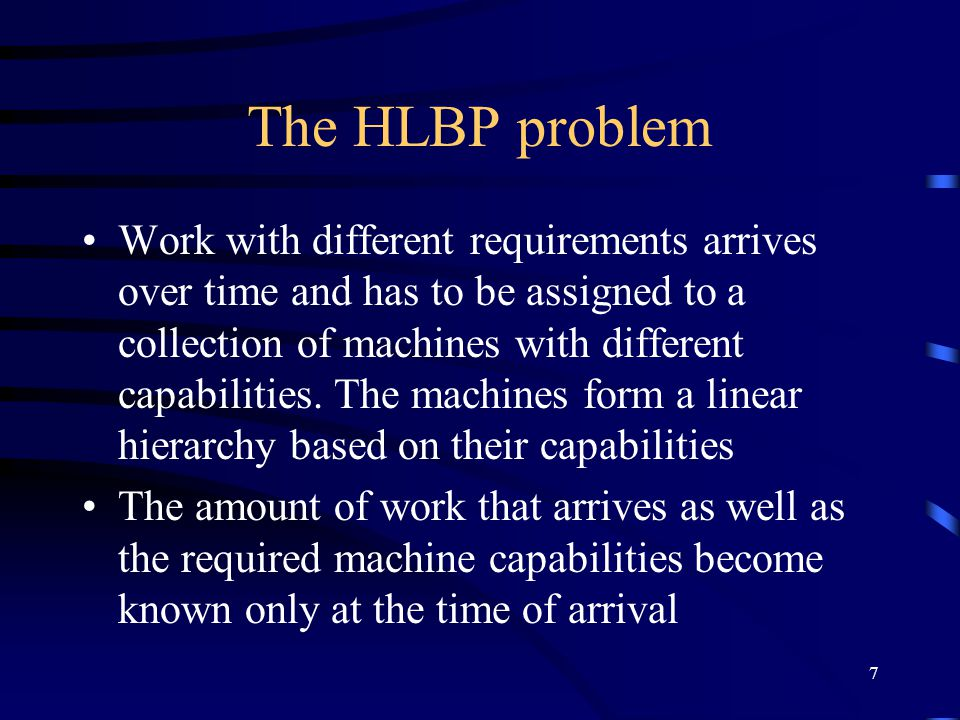8 Comparison ORMP appears to be a new problem, and there is no existing literature discussing it For HLBP, the optimal competitive ratio tends to e when the number of machines goes to infinity.