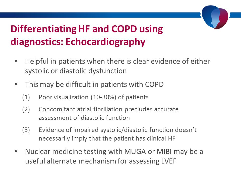 Additional investigations to consider in the stable patient ECGWhen normal HF < 10% ECGCOPDWhen normal HF < 12% nT-pro-BNPWhen normal HF < 10% nT-pro-BNPCOPDWhen normal HF < 9% CXRLow NPV and moderate PPV CXRCOPDLow NPV and low PPV Davie et al., 1996; Rutten et al., 2005; Rutten et al., 2006; Fonseca et al., 2004; Fuat et al., 2006; Zaphiriou et al., 2005.
