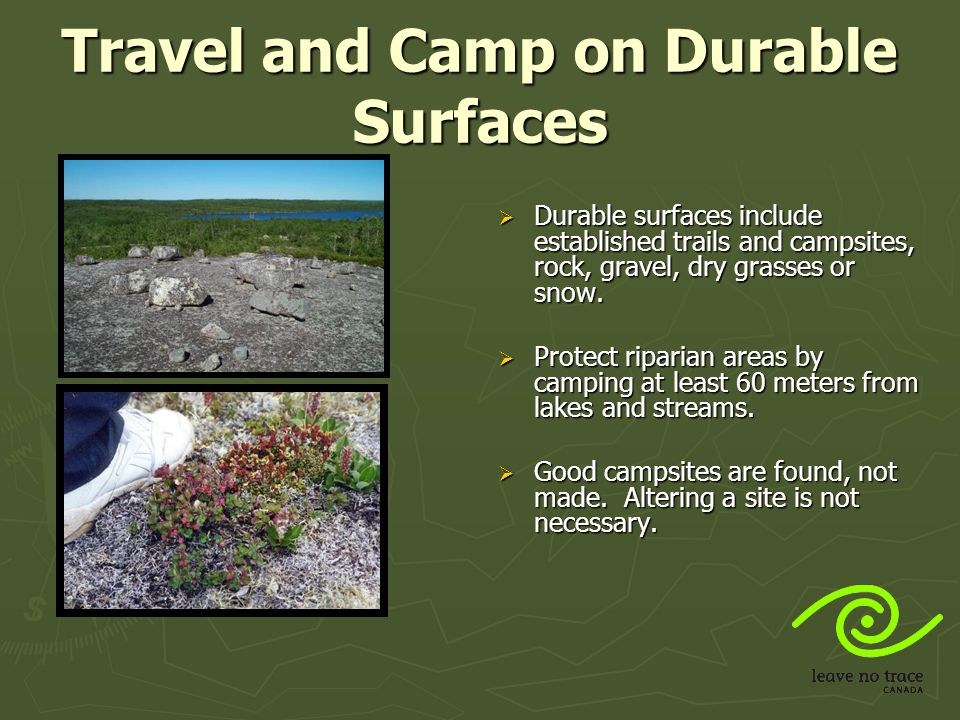 Travel and Camp on Durable Surfaces In popular areas:  Concentrate use on existing trails and campsites.