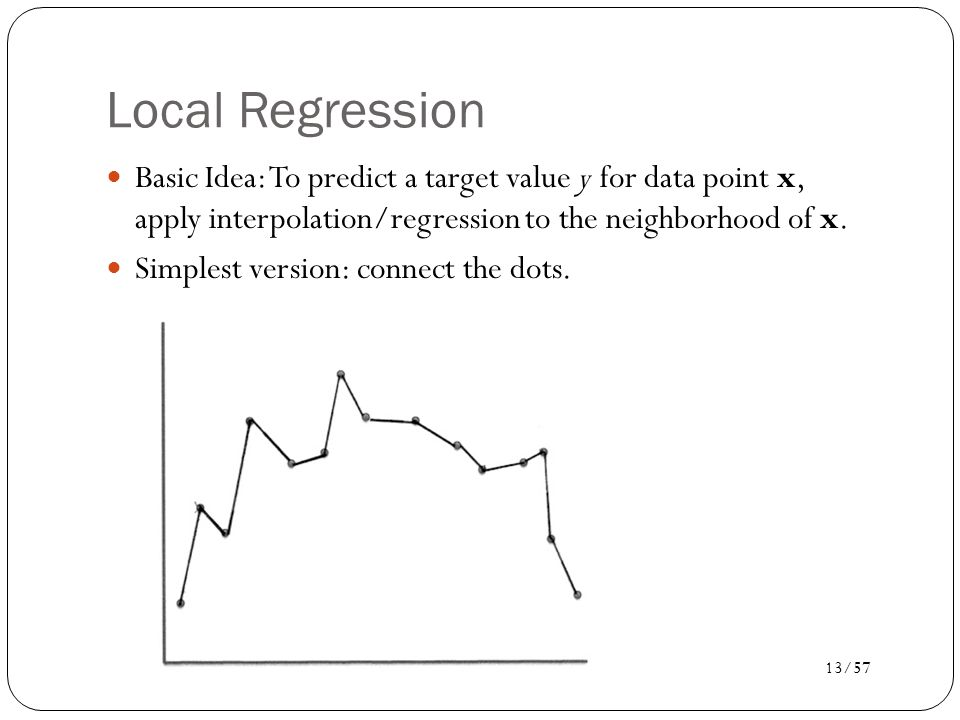 14/57 k-nearest neighbor regression Connect the dots uses k = 2, fits a line.