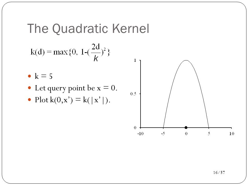 17/57 Kernel Regression For each query point x q, prediction is made as weighted linear sum: y(x q ) = w  x q.