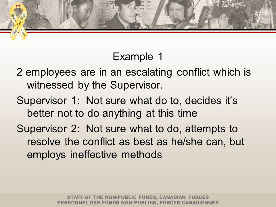 STAFF OF THE NON-PUBLIC FUNDS, CANADIAN FORCES PERSONNEL DES FONDS NON PUBLICS, FORCES CANADIENNES Example 2 Employee is dealing with a very difficult client who is being rude and disrespectful Employee 1: tries to calm the client down, but employs ineffective techniques Employee 2: is upset by the client and responds by addressing the client in the same rude and disrespectful manner