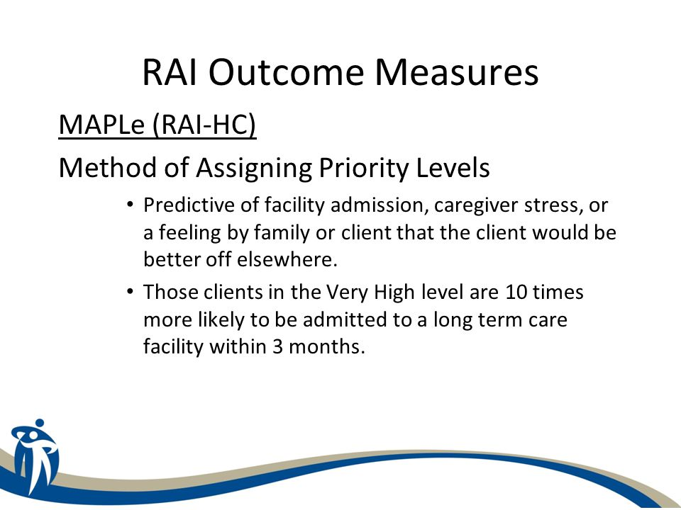 C-HOBIC Outcome Measures Included in the WRHA Project: – ADL – Activities of Daily Living – Bladder Continence – Pain – Falls – Pressure Ulcers – IADL – Instrumental Activities of Daily Living (Home Care) Not Included in the Project: – Fatigue, Dyspnea, Nausea, Therapeutic Self-care