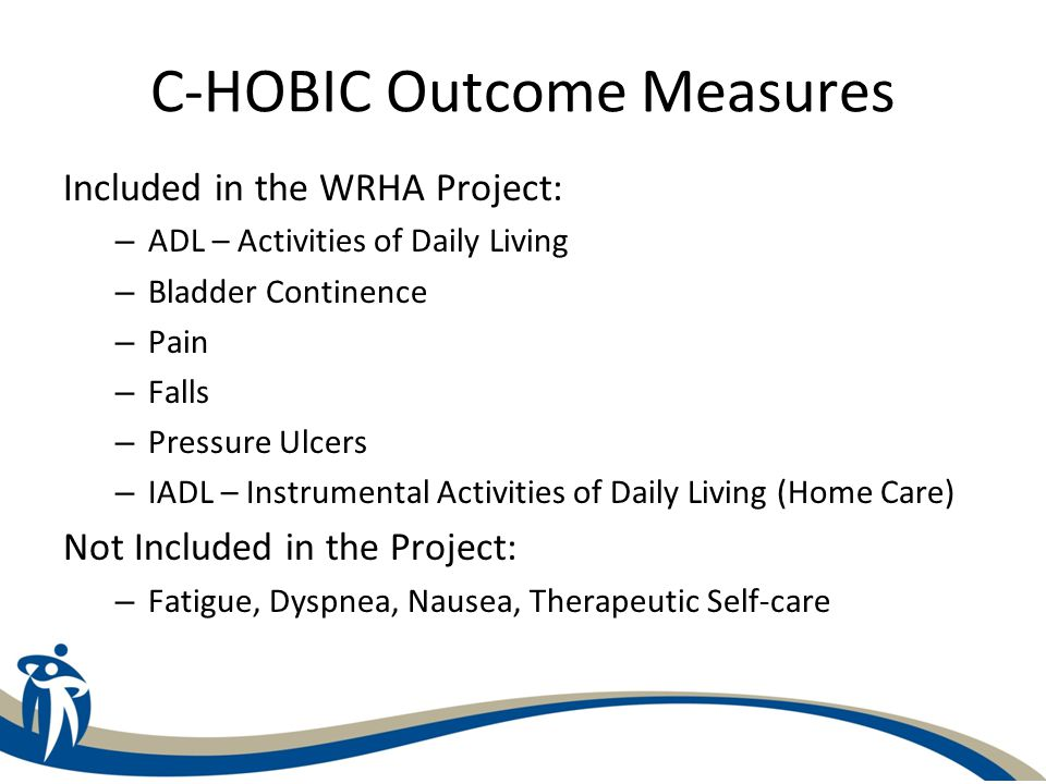 C-HOBIC Individual Outcome Measure Report Provides a detailed analysis of each client's/patient's outcome data for the specified indicators Measures are intended to lead the clinician through an investigative process when reviewing the assessment, in creating the care plan, and evaluating the results of the care plan and client status.