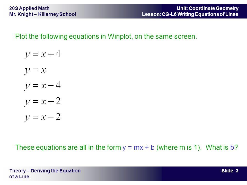 20S Applied Math Mr.