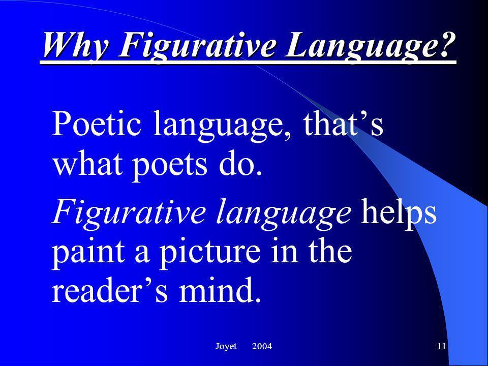 Joyet 200411 Why Figurative Language.Poetic language, that's what poets do.