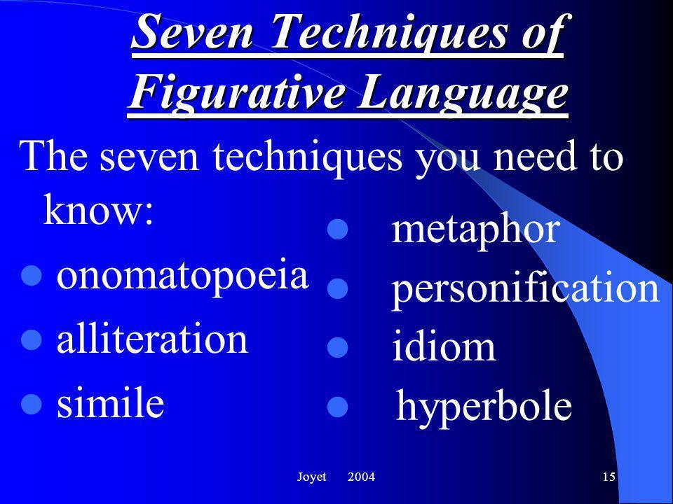 Joyet 200415 The seven techniques you need to know: onomatopoeia alliteration simile metaphor personification idiom hyperbole Seven Techniques of Figurative Language