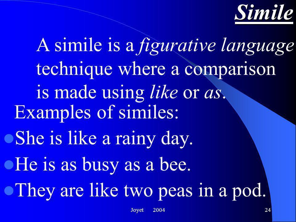 Joyet 200424 Simile Examples of similes: She is like a rainy day.