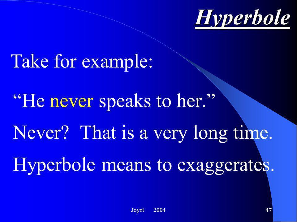 Joyet 200447 Hyperbole He never speaks to her. Never.