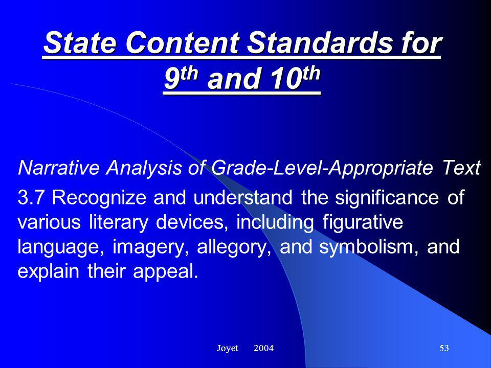 Joyet 200453 State Content Standards for 9 th and 10 th Narrative Analysis of Grade-Level-Appropriate Text 3.7 Recognize and understand the significance of various literary devices, including figurative language, imagery, allegory, and symbolism, and explain their appeal.