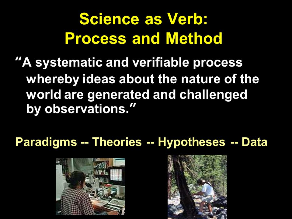 Science as Verb: Process and Method The focus is on evaluating hypotheses with carefully collected and controlled data.