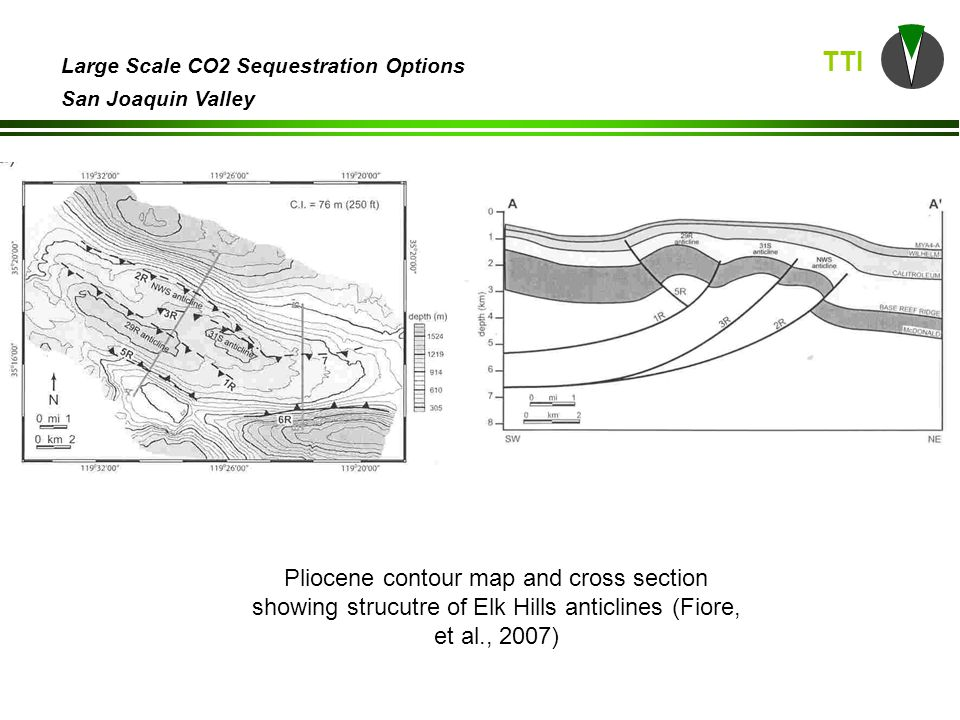 TTI Large Scale CO2 Sequestration Options San Joaquin Valley Miocene structure contour map (DOGGR, 1998)