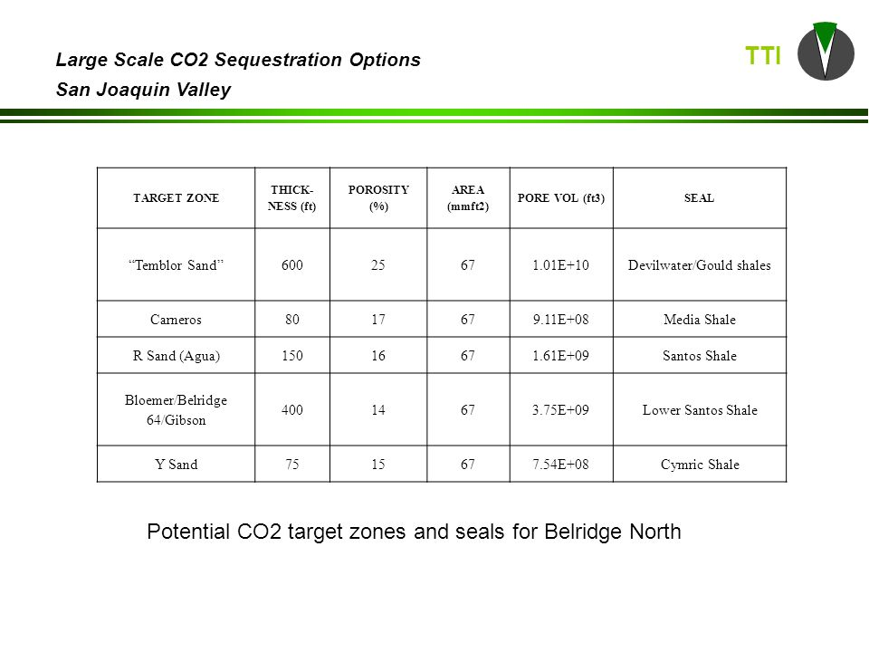 TTI Large Scale CO2 Sequestration Options San Joaquin Valley Paloma Discovered in 1939 28 wells as of 12/2006