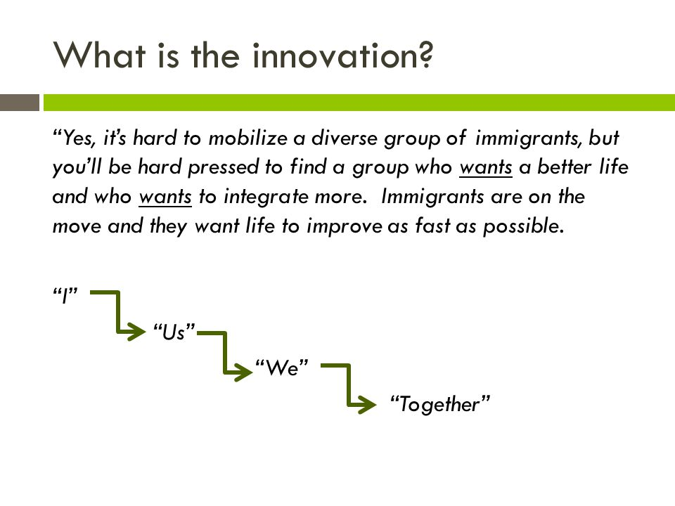 What is the innovation. Maybe it's really the people who are the innovation.