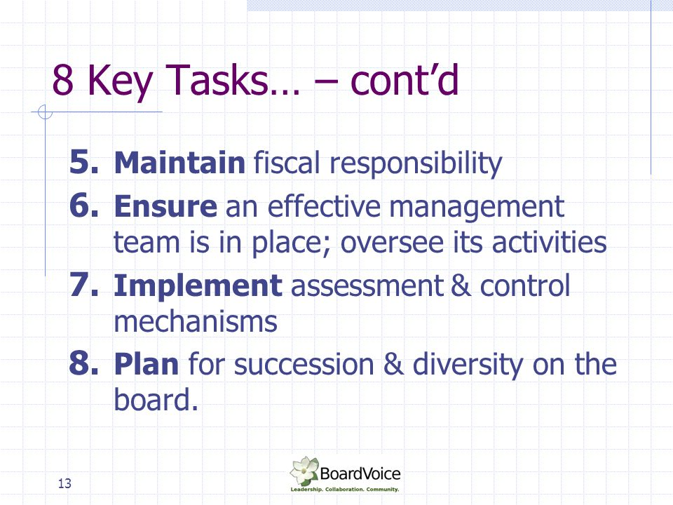14 Duties of Governance Establish mission; communicate it and review it periodically Identify key elements to sustaining the mission and establish a strategic planning process to get there Approve a process for risk assessment & management Oversee & monitor achievement of the mission through evaluation of measurable goals & desired outcomes (rather than inputs or activities -Building on Strength: Improving Governance and Accountability in Canada's Voluntary Sector, Ed Broadbent, Chair: 1998
