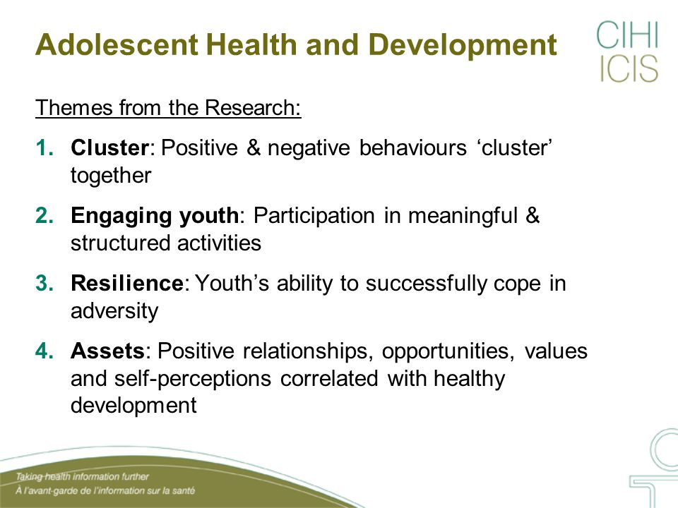 Youth Health and Assets in the Social Environment CPHI's report, Improving the Health of Young Canadians, looked at the roles of family, schools, peers and communities in healthy adolescent development: Parental nurturance Parental monitoring School engagement Peer connectedness Community engagement