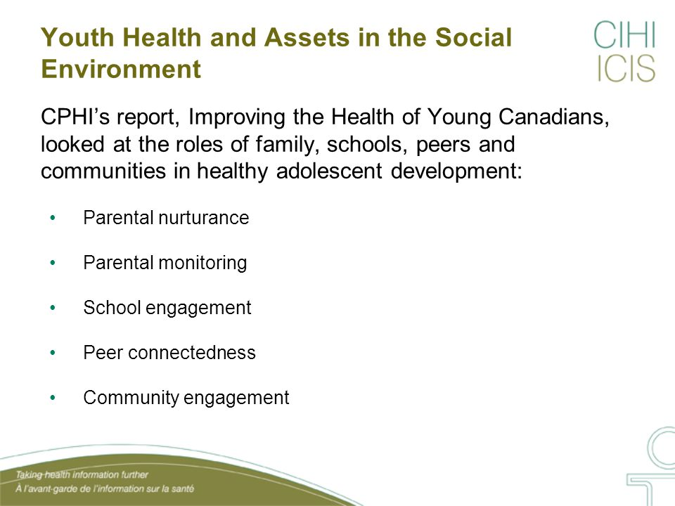 IHYC Report Findings: Summary Table Parental Nurturance Parental Monitoring School Engagement VolunteerismConnected to Peers High self- worth Exc.