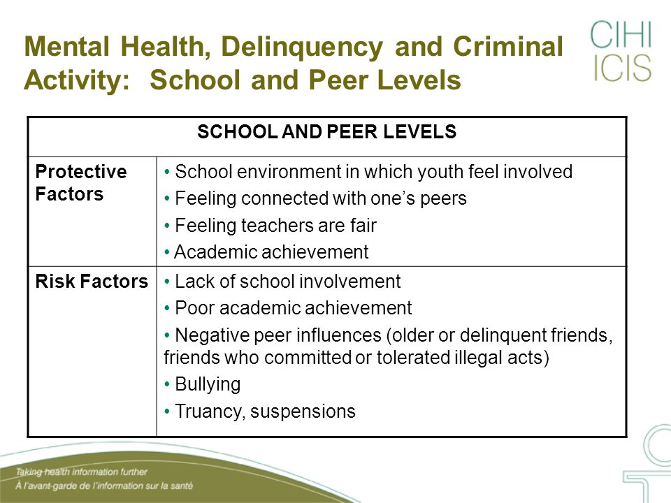 Mental Health Among Children & Youth: Students Who Do Not Feel Confident Source: PHAC, The Human Face of Mental Health and Mental Illness in Canada, 2006.