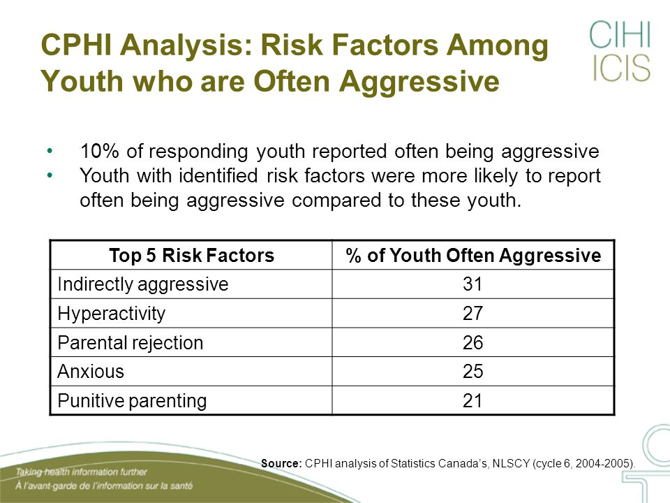CPHI Analyses: Conclusions The top five protective factors represent the presence of positive behaviours, such as: Emotional capability, stress management, parental nurturance, liking school and being easily adaptable As opposed to the absence of these protective factors, the top five risk factors for aggressive behaviour represent the presence of a negative behaviour, including: Indirect aggression, hyperactive, reporting parental rejection or punitive parents and being anxious Analyses highlight the value of both promoting protective factors and reducing risk factors as a means of addressing aggression in youth