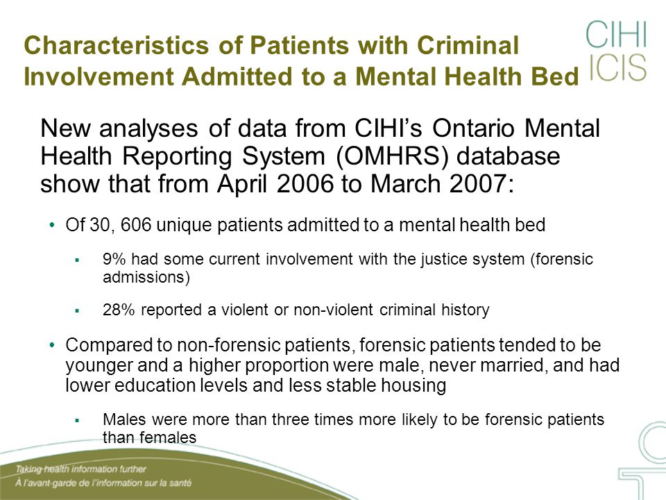 Risk Factors at Admission Among Patients with a Criminal History Compared to patients without a criminal history, patients in mental health beds with a criminal history reported significantly more risk factors at admission: Reported rates of substance use were nearly two times higher Significantly greater victimization rate (38% versus 26%) Patients with a criminal history were more likely to have failed or dropped out of an education program (41% versus 25% of non- criminal history) For 44% of patients with a criminal history, the patient, family or friends indicated the relationship between the patient and immediate family was dysfunctional (versus 34% of others)