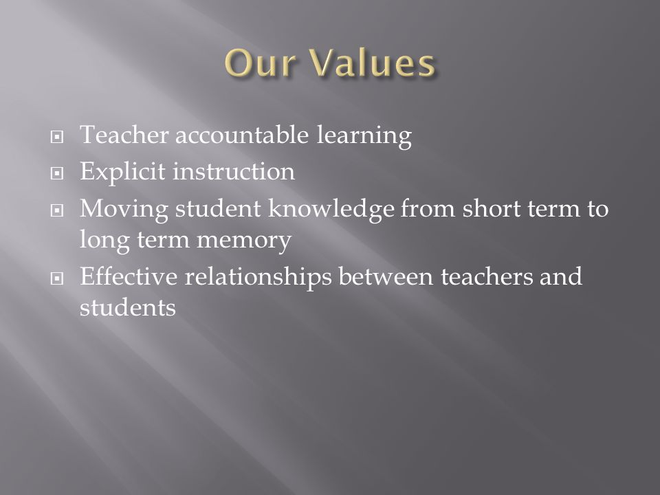  Students trust and respect teachers  Students work at their level  Students have friends at school