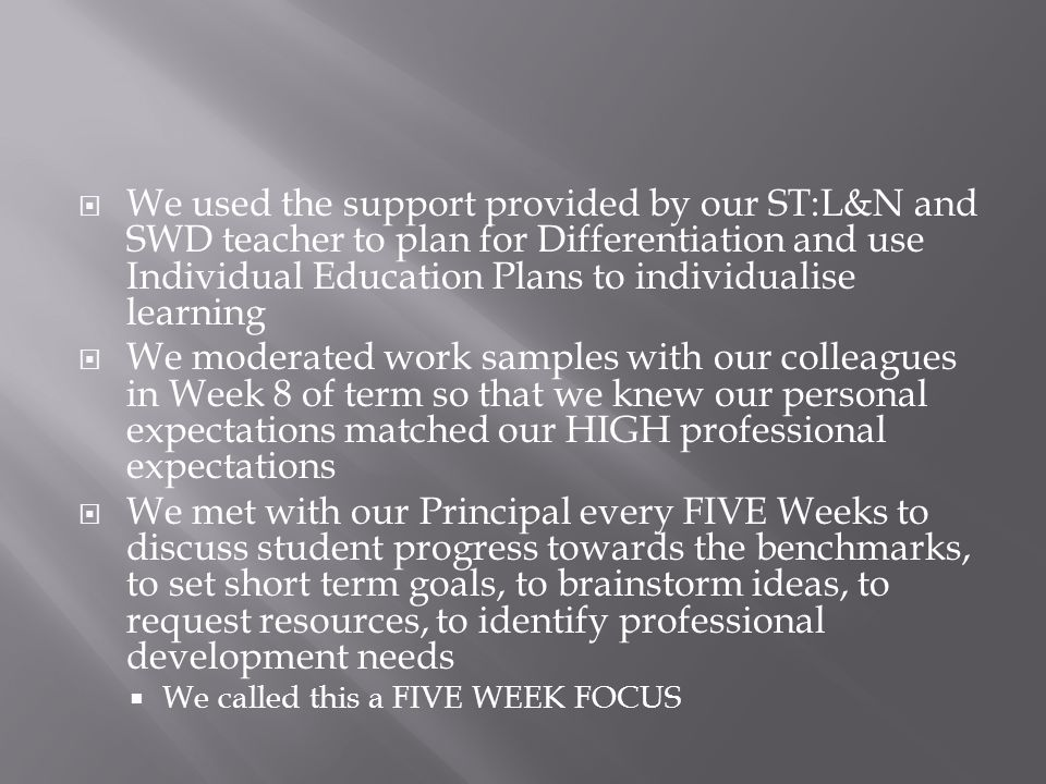  We used OneSchool to record and track student results  We developed amazing consolidations  We followed the explicit teaching model  We actively sort feedback from the leadership team and our peers about our CRAFT using the Consolidation and Explicit Teaching;  Flow Charts, Continuums, and Observation Templates  We did this at least ONCE per term
